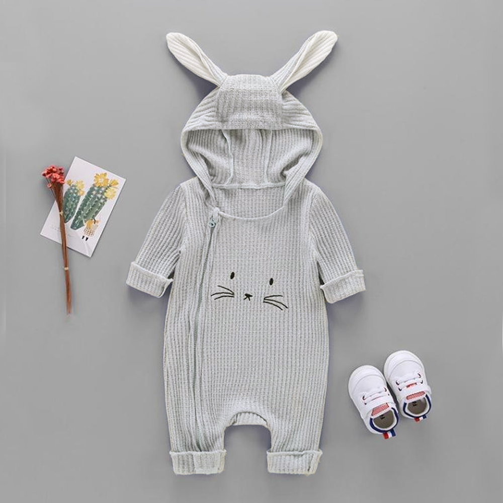 Baby 3D Ears Rabbit Design Stripe Long-sleeve Jumpsuit (No shoes!)