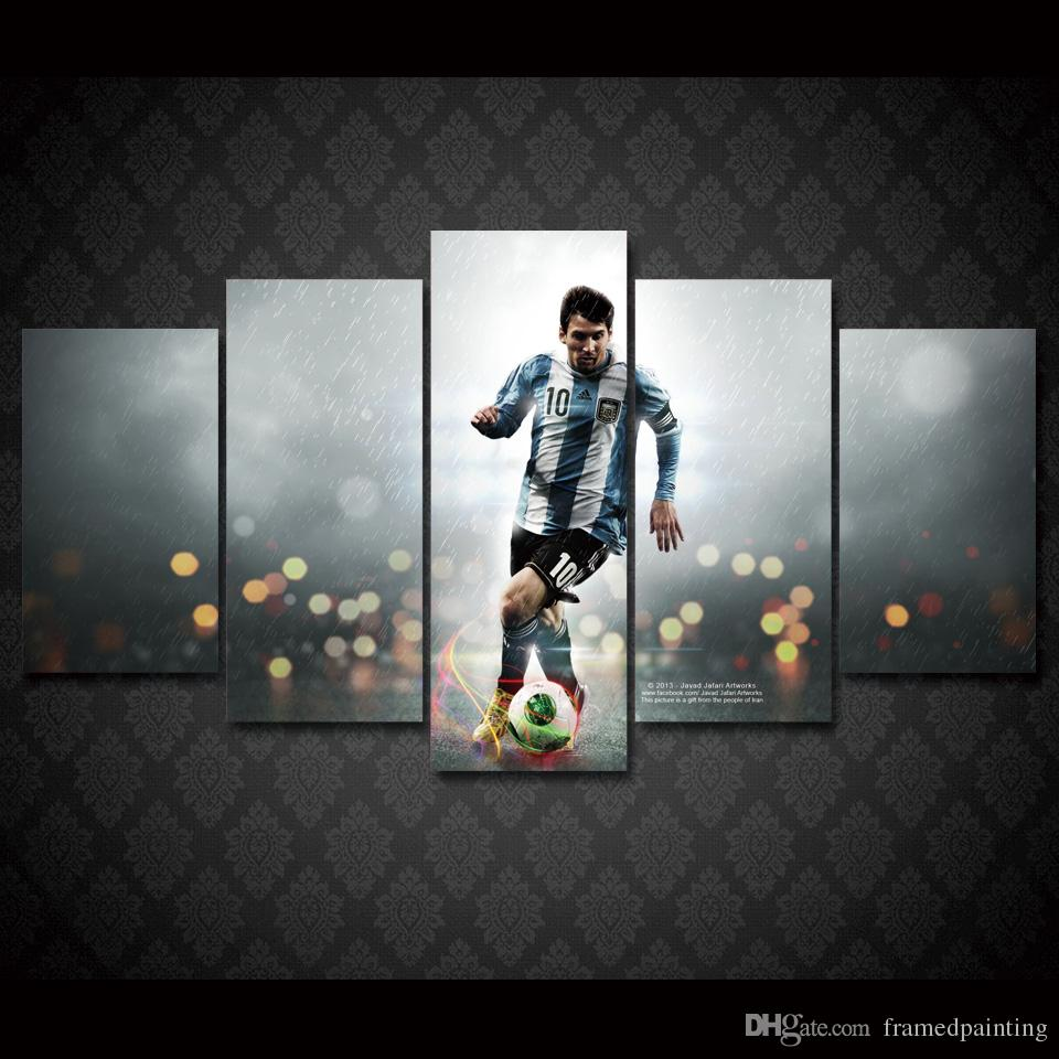 5 Pcs/Set Framed HD Printed Football Sports Messi Wall Art Canvas Print Poster Canvas Pictures Modern Painting For Living Room