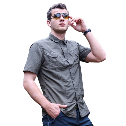 Men's Quick Drying Short Sleeve Shirt Outdoor Fishing Mountaineering Camping Summer Casual Shirt