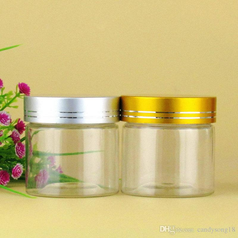 100ml Empty clear Cream Cosmetic Jar PET Conatiner Silver gold Aluminum Lid fast shipping F1455