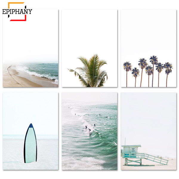 beach wall art gallery ocean surf print palm tree modern minimalist print tropical coastal decor wall pictures for living room