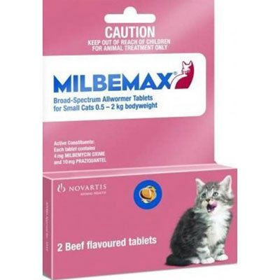Milbemax For Cats Upto 2kg 2 Tablet