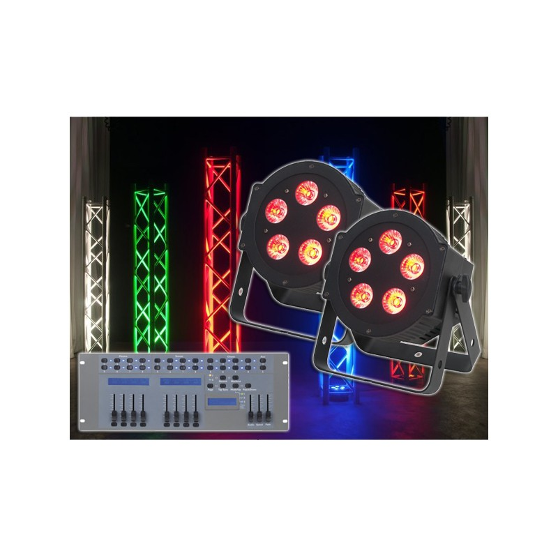 2x ADJ 5P HEX PAR LED Lichteffekt + Showtec LED Commander Pro