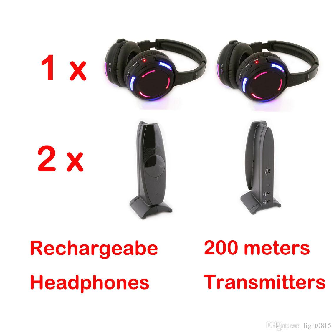 Silent Disco Sound System / Quiet Clubbing wireless headphones with Transmitter (1 silent disco headphones +2 Transmitters)