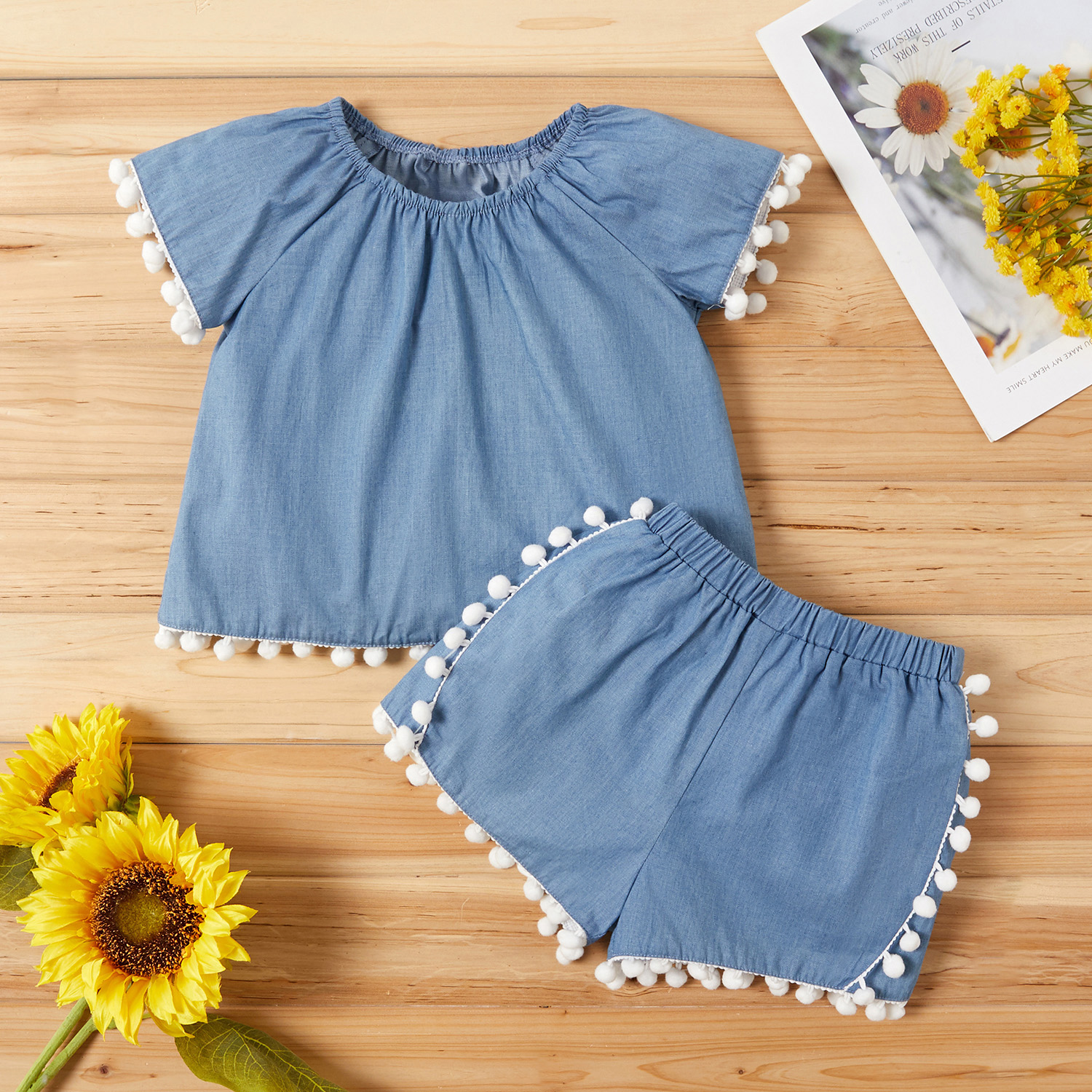 Baby / Toddler Pompon Decor Denim Top and Shorts Set