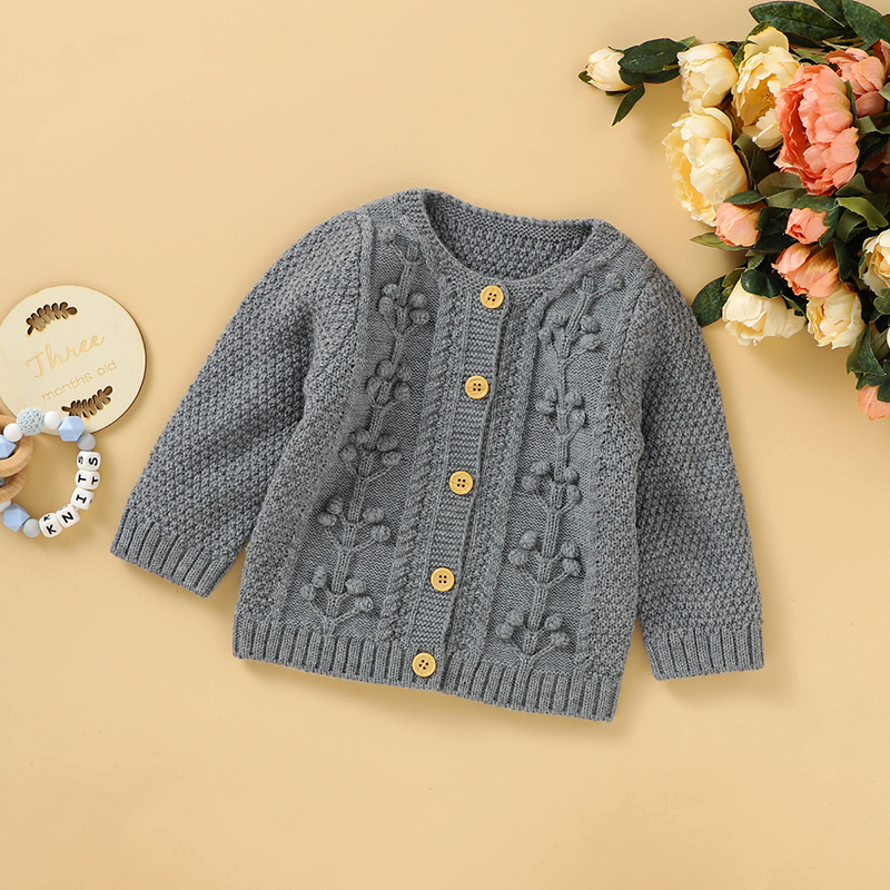 Baby Girl Solid Knitted Sweater Coat