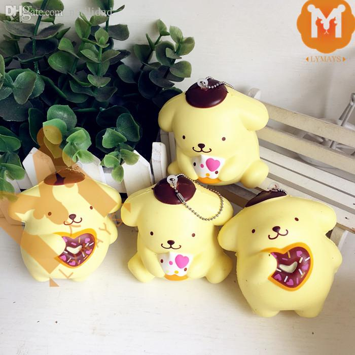 Wholesale-9CM Jumbo 2 Styles Cute Pompom Purin Dog Cafe Squishy Charm / Bag Decorations / Decompression Toys With Tag