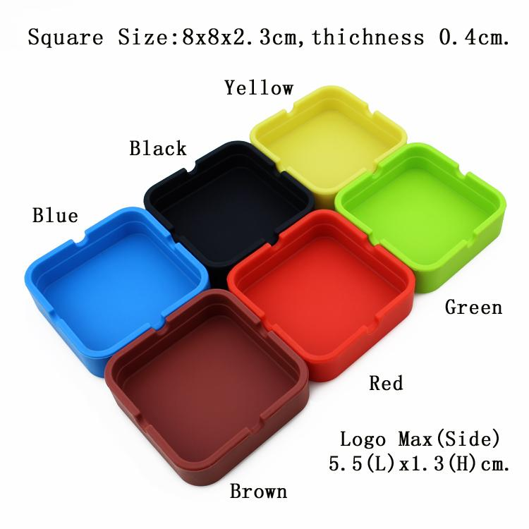 Hot Sale! Portable Cigarette Ashtray For Home Eco-friendly Smoking Gadgets Square Silicone Ashtray 6 Colors YHG002