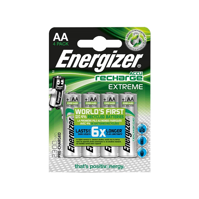 Energizer Accu Extreme AA HR6, MN1500 NiMh Rechargeable Batteries 2300mAh - 4 Pack