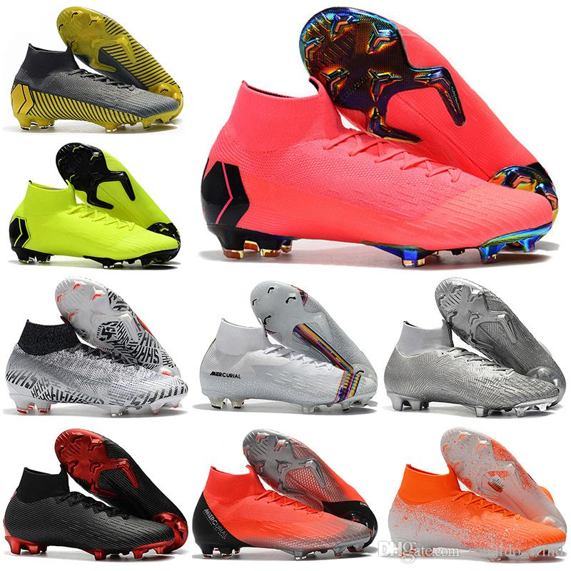 With Bag Mens High Ankle Football Boots Superfly 6 Elite FG Soccer Shoes CR7 Mercurial Superfly VI 360 Neymar NJR ACC Soccer Cleats