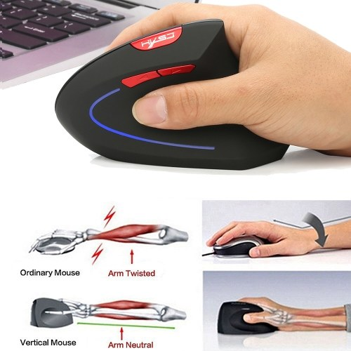 HXSJ Wireless Mouse Vertical Mice Ergonomic Rechargeable 3 DPI optional Adjustable 2400 DPI Mouse with USB charging Cable for Mac Laptop PC Computer