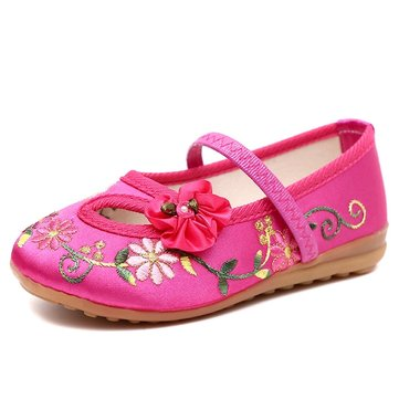 Chinoiserie Embroidered Shoes Casual Flats For Girls