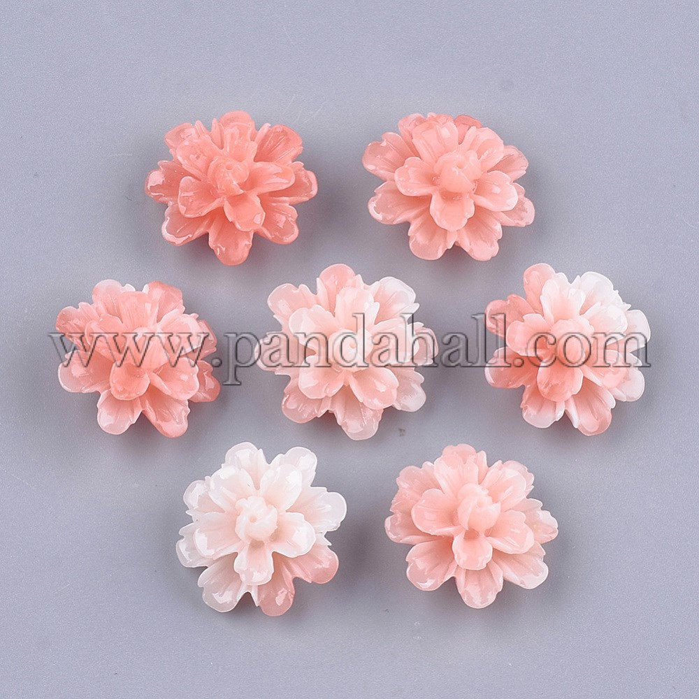 Synthetic Coral Beads, Dyed, Flower, LightSalmon, 17.5x18x10mm, Hole: 1.5mm