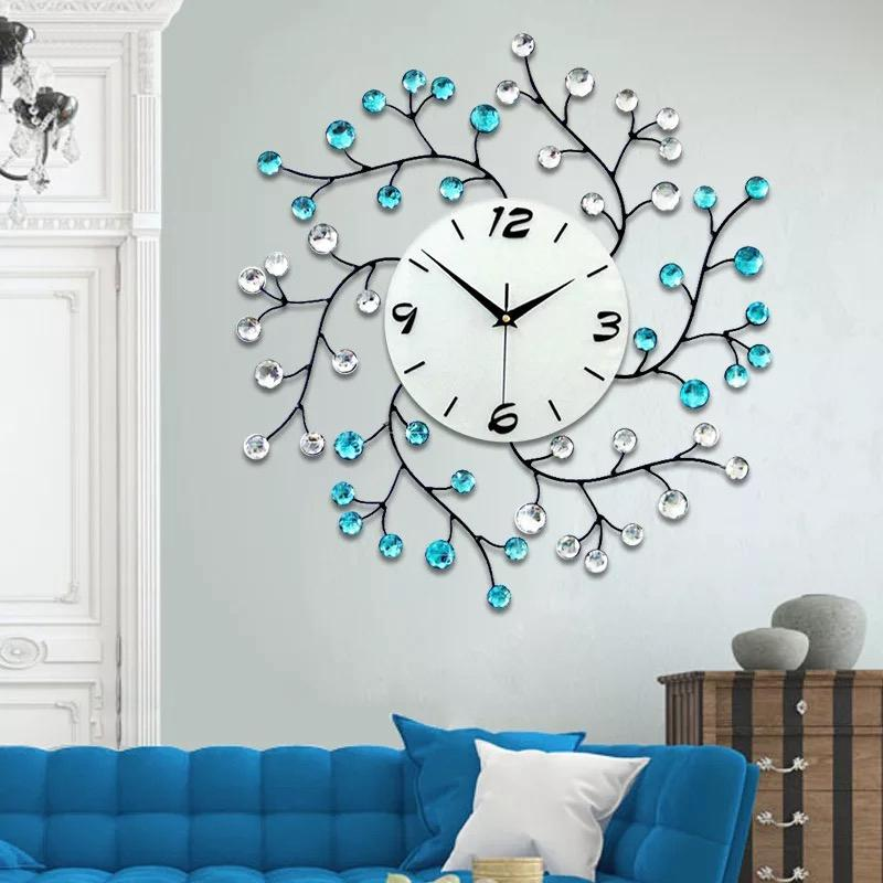 3D Big Wall Clock Modern Design Decorative Home Decor Wall Watches Living Room 54pcs Diamonds Wrought Iron Silent Large Clock