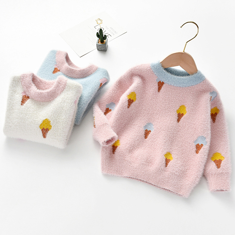 Gentle Ice Cream Print Sweater For Girls