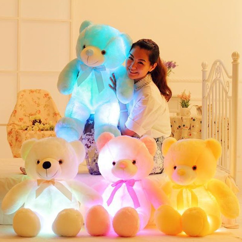 Creative Light LED Stuffed Animals Plush Toy Colorful Christmas Gift for Kids