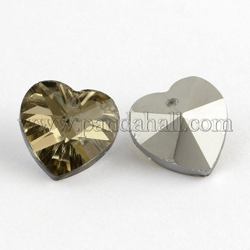 Heart Electroplated Glass Pendants, Silver Plated Bottom, Faceted, DarkKhaki, 14x14x8mm, Hole: 1.5mm