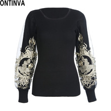 2014 sweaters for woman ladies casual female embroidery Female Disccount new fashion pullover promotion work wearing clothing