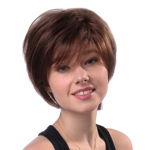 11'' Woman Wigs Short Straight Brown Hairpiece Real Human Hair Heat Resistant Female Wig
