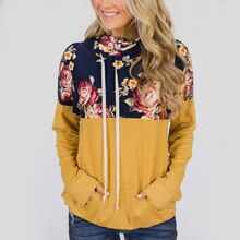 winter girls floral patchwork pockets hooded woman sweatshirt fashion long sleeve pullover female sweatshirt