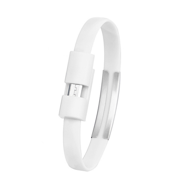 white wristband micro sync for android cell phone data usb charger charging cable y10