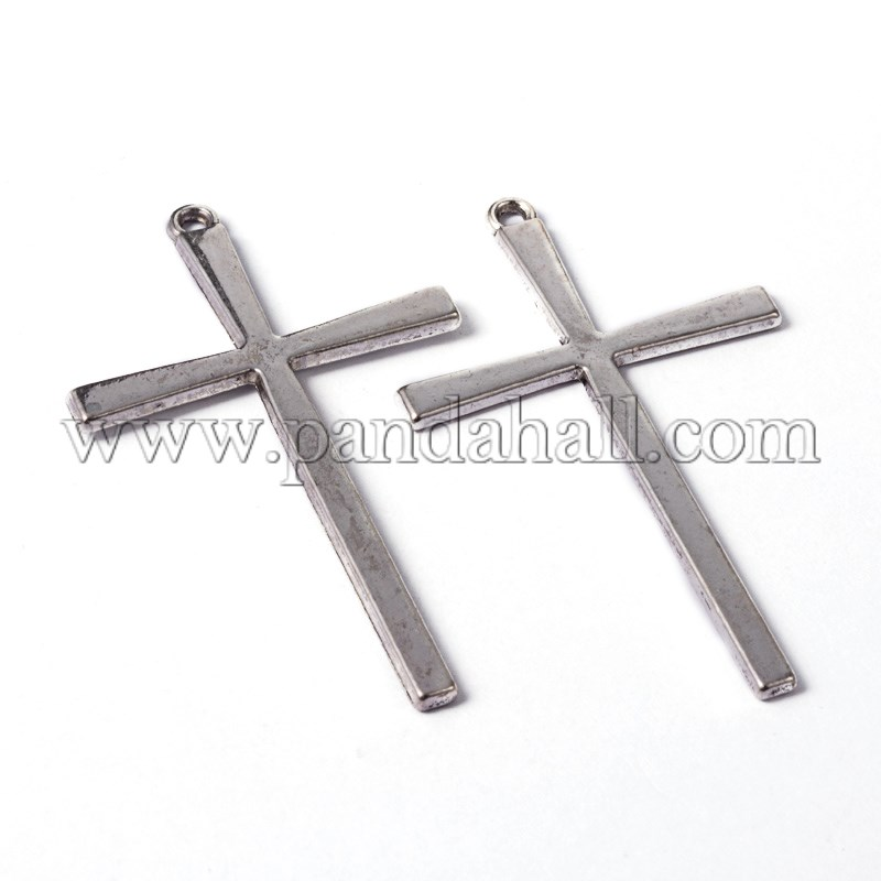 Tibetan Style Alloy Cross Large Pendants, Lead Free, Cadmium Free and Nickel Free, Antique Silver, 61.5mm long, 36.5mm wide, 2mm thick, hole: 2mm