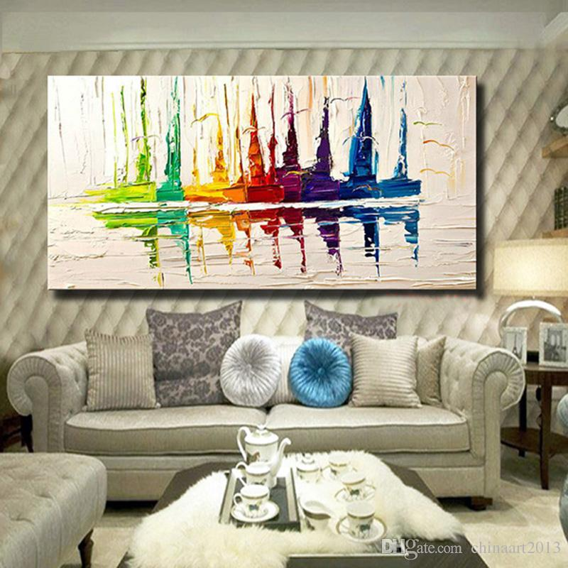 100% Hand Painted Scenery Oil Painting Modern Abstract Color Sailboat Home Wall Decoration