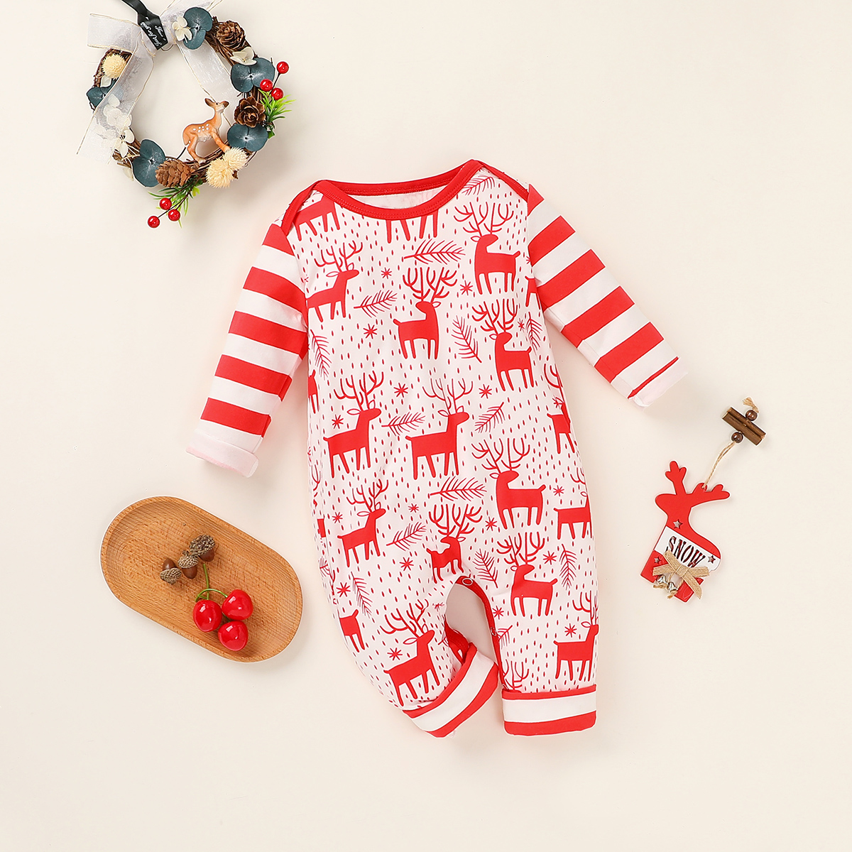 Baby Christmas Elk Striped Jumpsuit