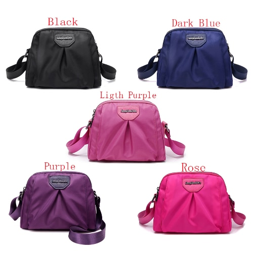 Women Nylon Shoulder Bag Zipper Adjustable Strap Waterproof Durable Casual Travel Crossbody Bag